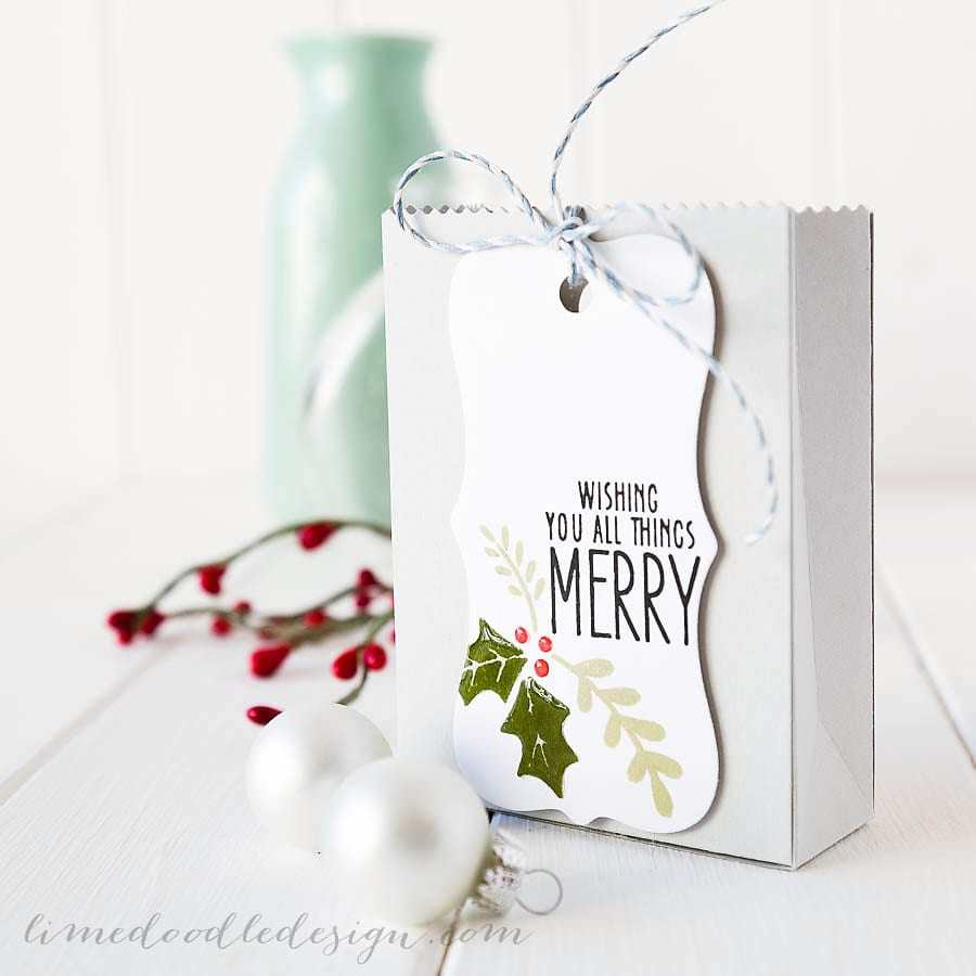 Debby Hughes - Lime Doodle Design - Hero Arts christmas catalogue & inks, Lawn Fawn goodie bag, Simon Says Stamp card; christmas, tag, bag, holly