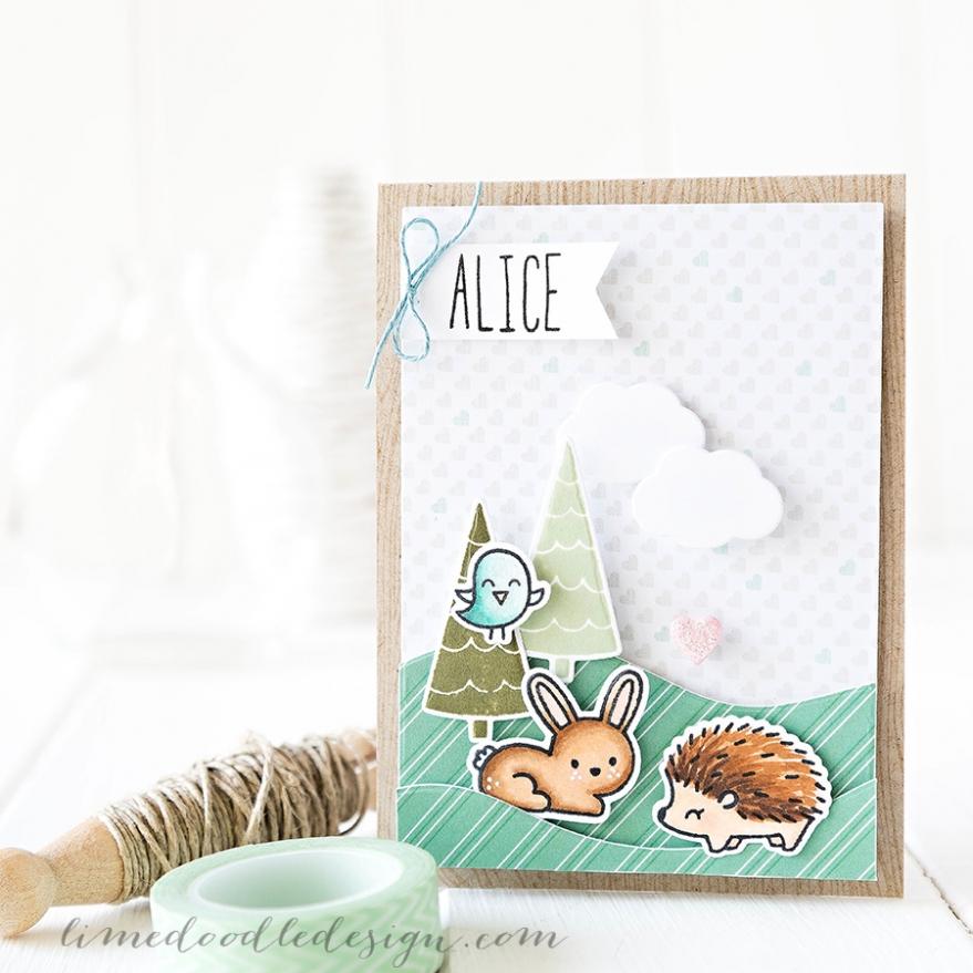 Debby Hughes - Lime Doodle Design - Lawn Fawn stamps & dies - card, cute, rabbit, hedgehog, bird