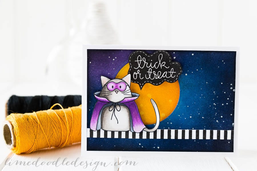 Debby Hughes - Lime Doodle Design - Simon Says Stamp STAMPtember - Halloween, cat, trick or treat, card