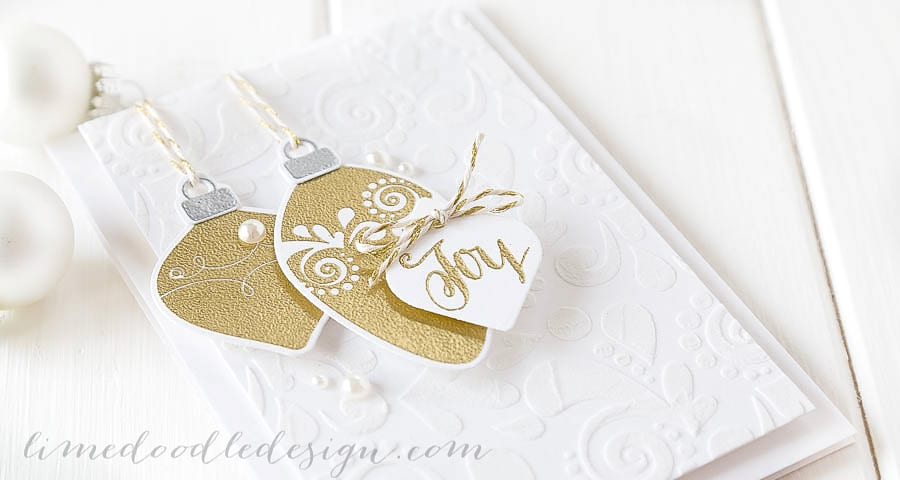 Debby Hughes - Lime Doodle Design - CASE Study - Simon Says Stamp STAMPtember - Christmas, card, ornaments, gold, joy