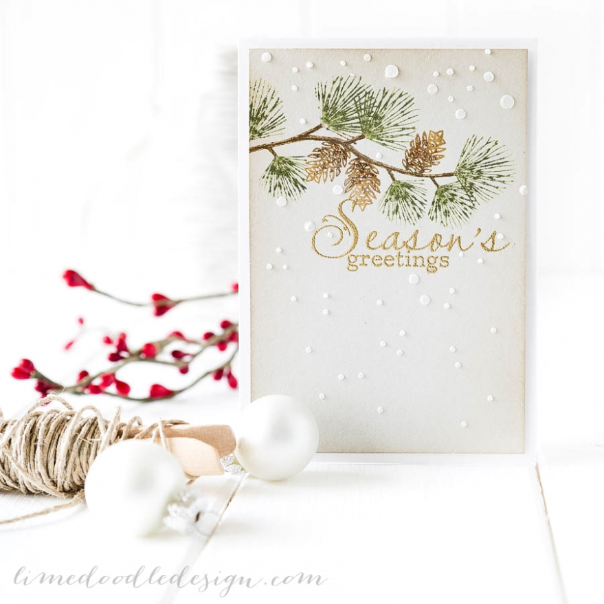 Debby Hughes - Lime Doodle Design - Simon Says Stamp STAMPtember, Clearly Besotted Stamps - christmas, card, pine branch, snow, winter
