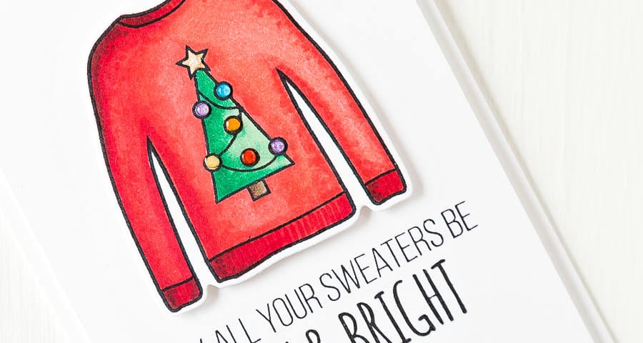 Debby Hughes - Lime Doodle Design - Simon Says Stamp cold hands warm heart release - christmas, card, ugly sweater, jumper
