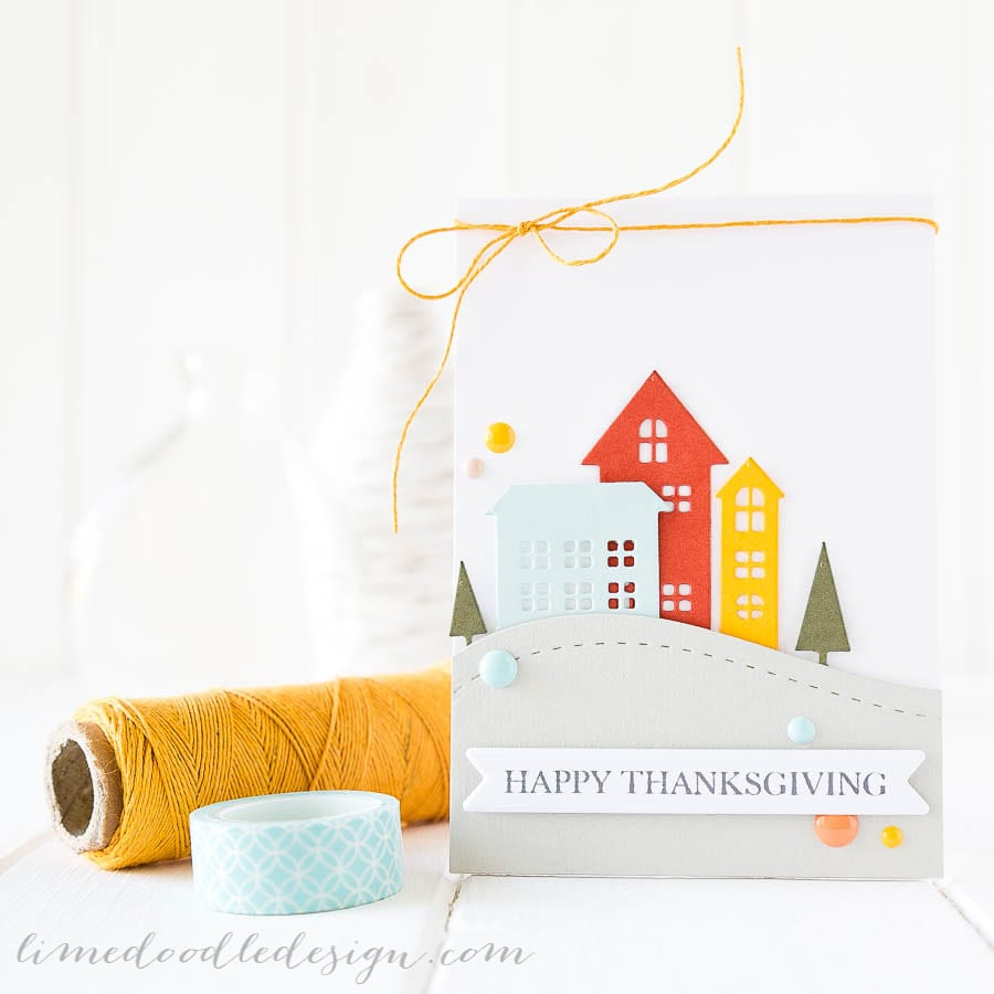 Debby Hughes - Lime Doodle Design - Simon Says Stamp Cold Hands, Warm Heart release - thanksgiving, card, village, house
