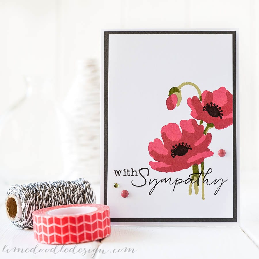 Debby Hughes - Lime Doodle Design - Clearly Besotted Stamps October release, Hero Arts inks - sympathy, card, poppy, poppies, flower
