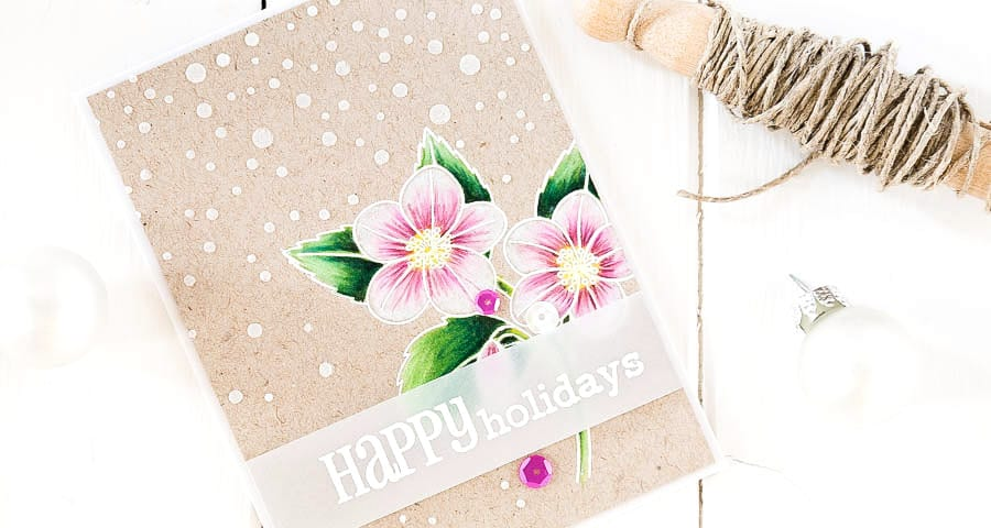 Winter rose christmas card. For more please visit http://limedoodledesign.com/2014/11/happy-holidays-3/ - Debby Hughes - Lime Doodle Design - #christmas #card #flower #snow