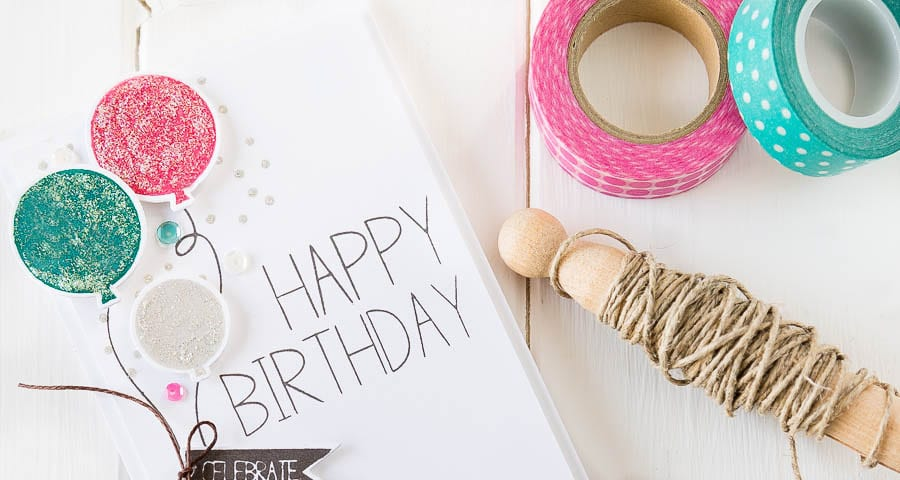 Surprise birthday party balloons card. For more please visit http://limedoodledesign.com/2014/11/birthday-blog-hop/ - Debby Hughes - Lime Doodle Design - #birthday #card #balloons #suprise