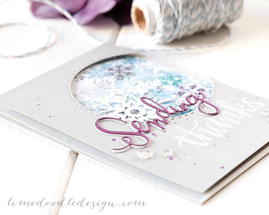 Winter thank you card. For more please visit http://limedoodledesign.com/2014/12/january-card-k…sending-thanks/ Debby Hughes - Lime Doodle Design #simonsaysstamp #card #kit #thank