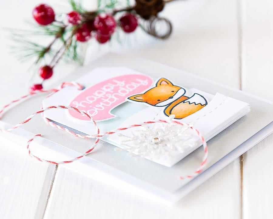 Winter birthday card. For more please visit http://limedoodledesign.com/2014/12/winter-birthday-2/ Debby Hughes - Lime Doodle Design #winter #birthday #card #fox