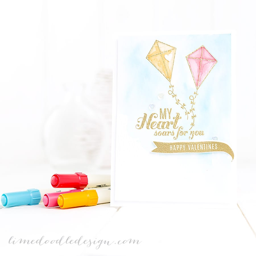Watercoloured Valentines Card. For more please visit http://limedoodledesign.com/2014/12/my-heart-soars/ Debby Hughes - Lime Doodle Design - #valentine #card #watercolor #watercolour
