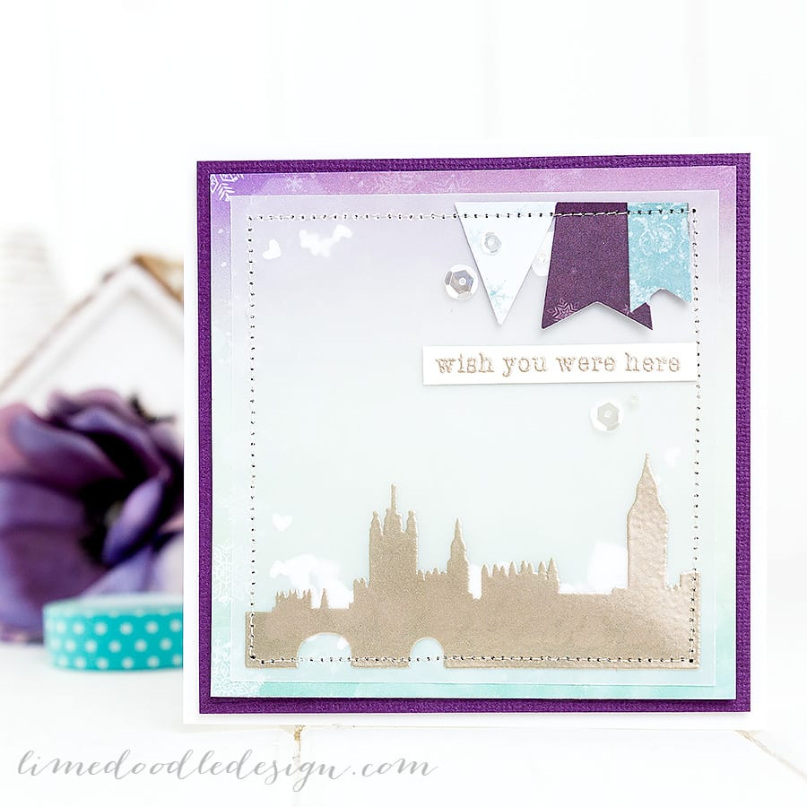 Stitched shaker card. For more please visit http://limedoodledesign.com/2015/01/stitched-shaker-card/ Debby Hughes - Lime Doodle Design - #card #shaker #london