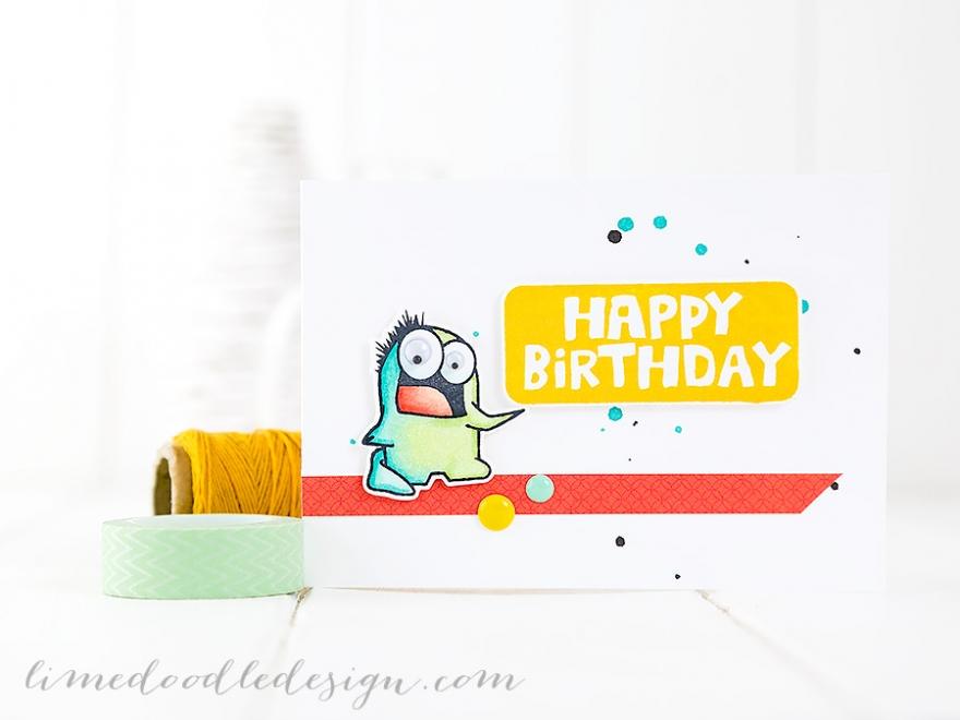 Monster Birthday Card. For more please visit http://limedoodledesign.com/2015/01/monster-birthday Debby Hughes - Lime Doodle Design #card #monster #birthday
