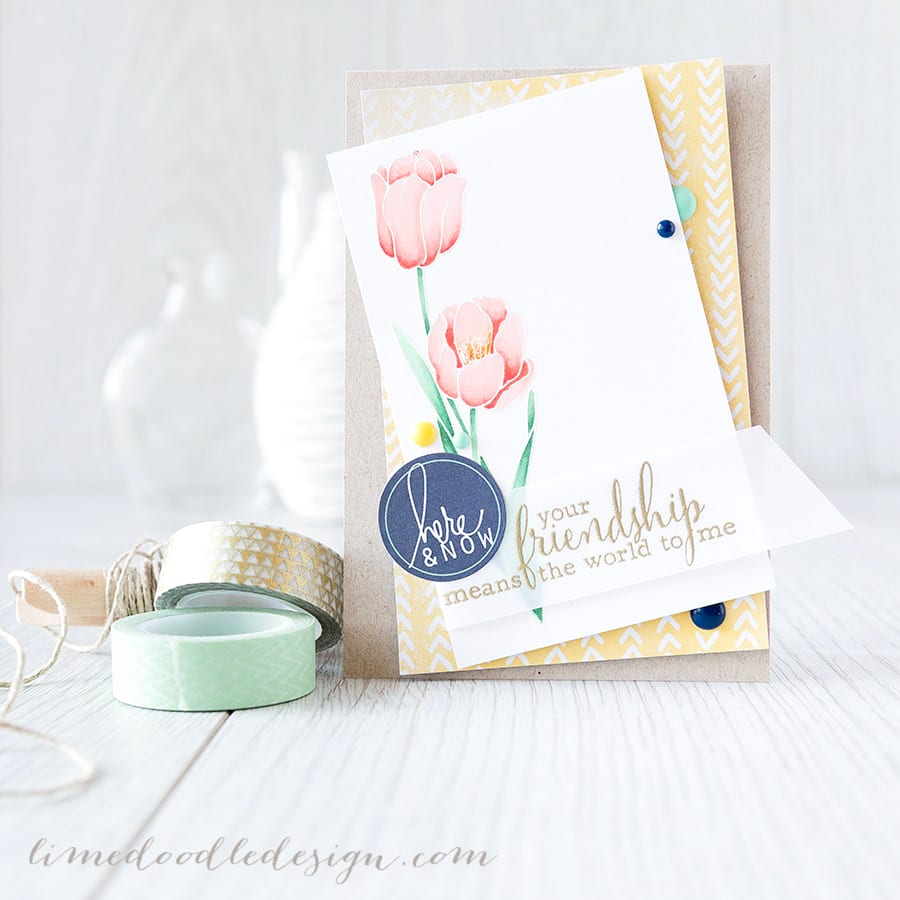 http://limedoodledesign.com/2015/02/your-friendship/ Debby Hughes - Lime Doodle Design #card #tulip #flower #friend