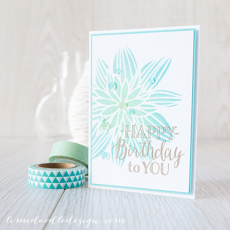 http://limedoodledesign.com/2015/02/off-set-stencilling/ Debby Hughes - Lime Doodle Design #card #flower #stencil #birthday