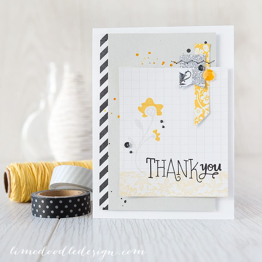 Debby Hughes - Lime Doodle Design - http://limedoodledesign.com/2015/02/thank-you-march-card-kit/ - #card #thank #flower #yellow