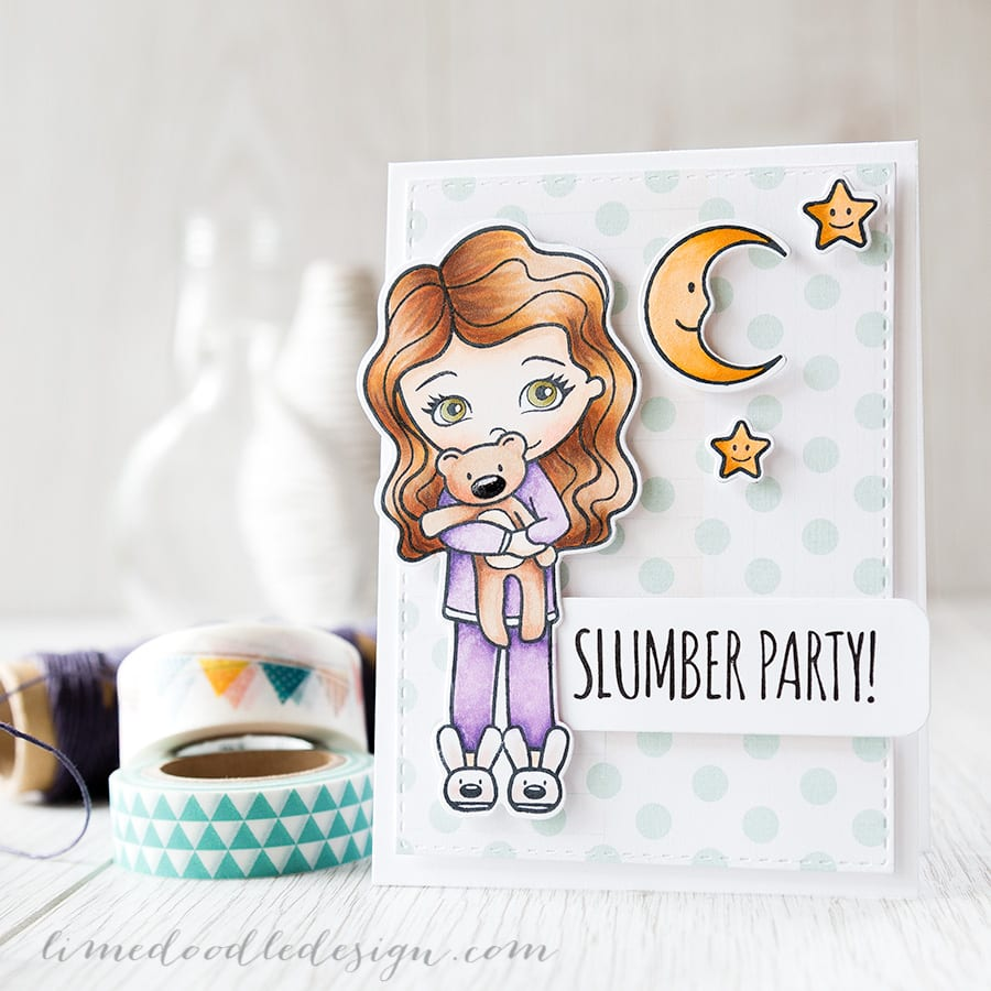 Debby Hughes - Lime Doodle Design http://limedoodledesign.com/2015/02/slumber-party/ #copic #card #party