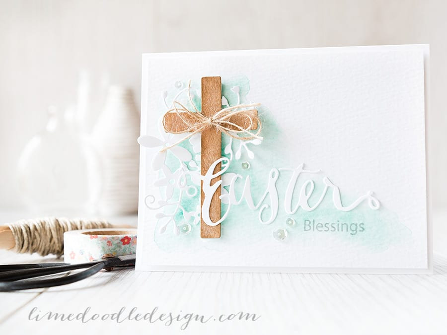 Debby Hughes - Lime Doodle Design http://limedoodledesign.com/2015/03/easter-blessings/ #Easter #card #cross