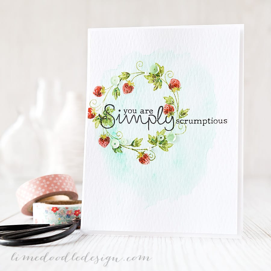 Debby Hughes - Lime Doodle Design http://limedoodledesign.com/2015/04/simply-scrumptious/ #card #summer #strawberry #wreath
