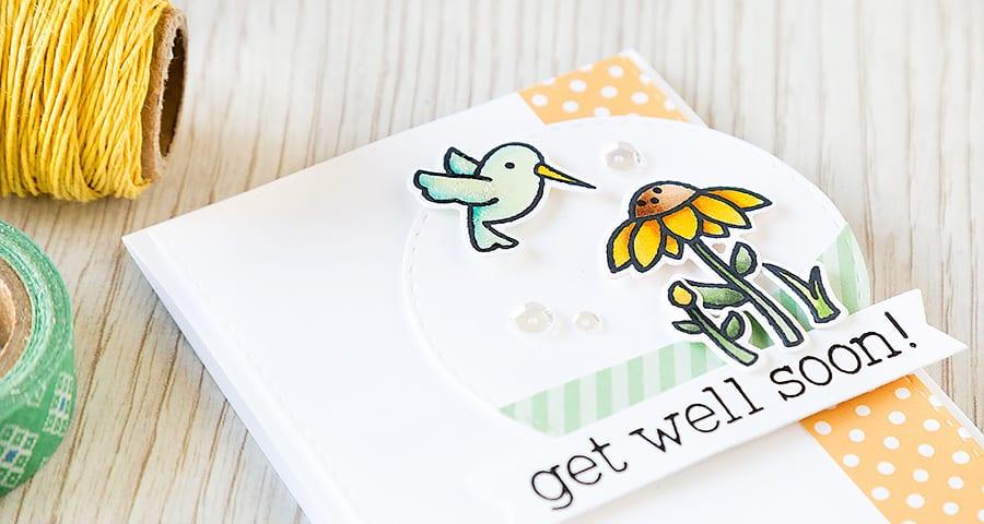 Debby Hughes - Lime Doodle Design http://limedoodledesign.com/2015/04/get-well-soon/ #card #getwell #hummingbird