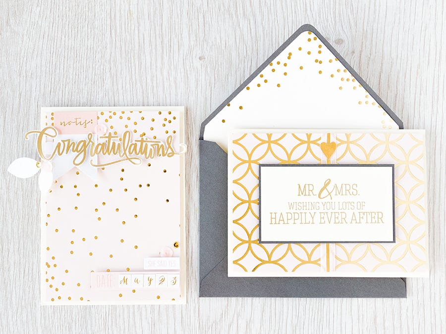 Debby Hughes - Lime Doodle Design http://limedoodledesign.com/2015/04/may-card-kit-mr-mrs/ #wedding #card #cardkit #pink #gold