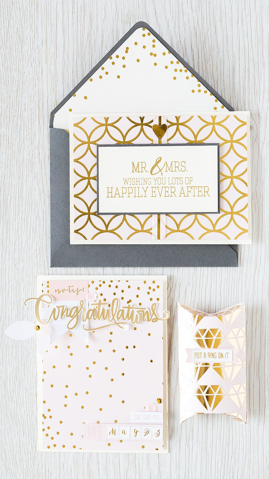 Debby Hughes - Lime Doodle Design http://limedoodledesign.com/2015/04/may-card-kit-put-a-ring-on-it/ #wedding #box #pink #gold