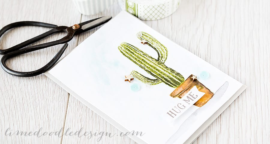 Debby Hughes - Lime Doodle Design http://limedoodledesign.com/2015/04/hug-me-easy-watercolour/ #card #cactus