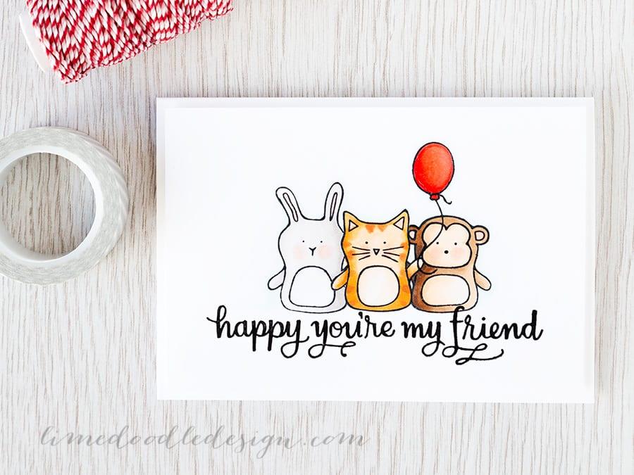 Debby Hughes - Lime Doodle Design http://limedoodledesign.com/2015/04/video-hex-chart-misti-masking/ #card #baby #animals #copic