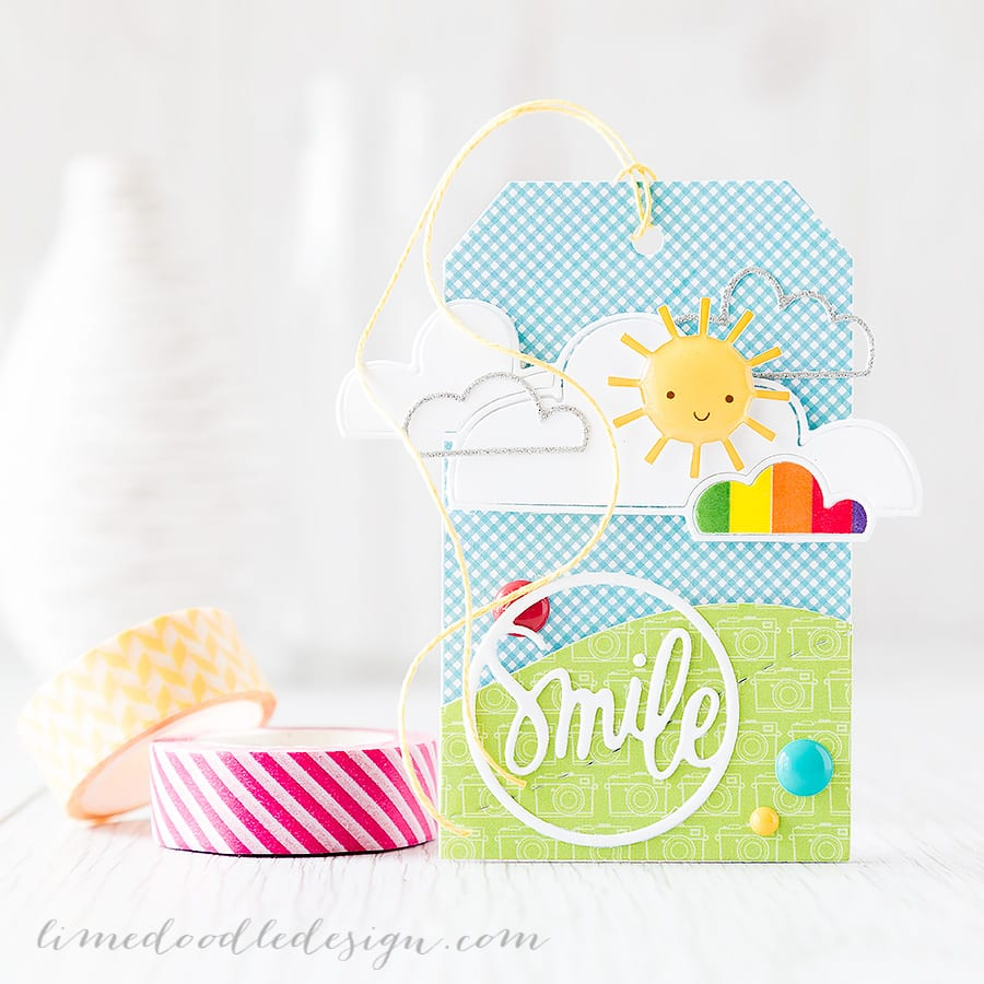 Bringing a little sunshine with this cute tag. Debby Hughes - Lime Doodle Design http://limedoodledesign.com/2015/05/june-card-kit-smile-tag/ #tag #summer #sun #smile
