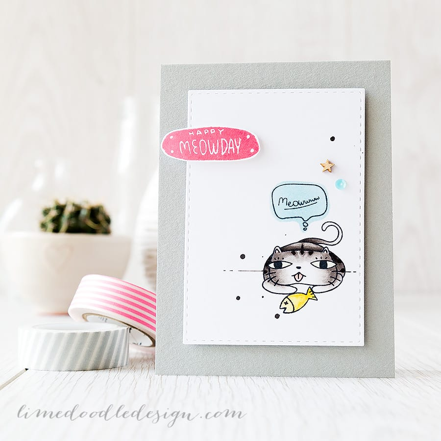 clean and simple (CAS) cute kitty birthday card - Debby Hughes - Lime Doodle Design http://limedoodledesign.com/2015/05/cas-meowwww/ #cat #card #birthday