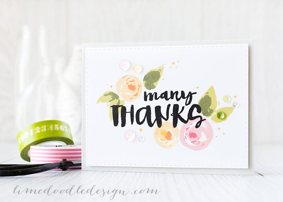 layered stamping multi-step stamping - Debby Hughes - Lime Doodle Design http://limedoodledesign.com/2015/06/layered-stamping/ #card #thanks #flower #layered #stamping