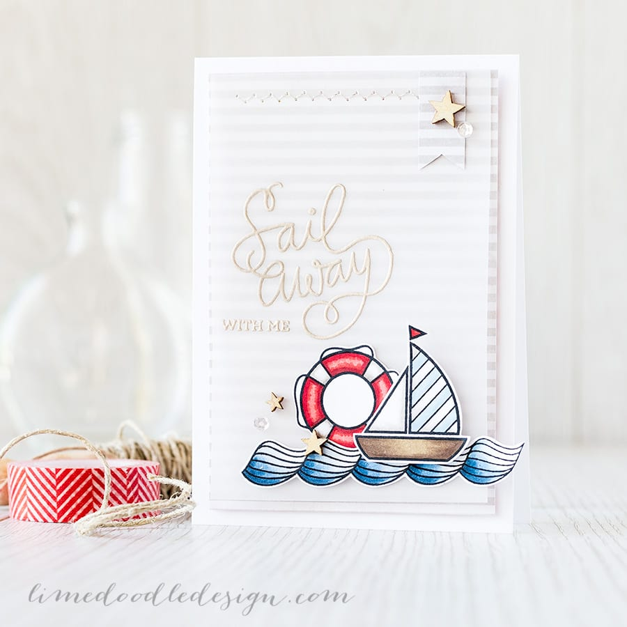 Nautical themed card using the July Card Kit from Simon Says Stamp. The sentiment heat embossed on vellum really helps it stand out against the patterned paper background. Find out more by clicking on the following link: http://limedoodledesign.com/2015/06/sail-away-with-me/ ~ Debby Hughes ~ Lime Doodle Design