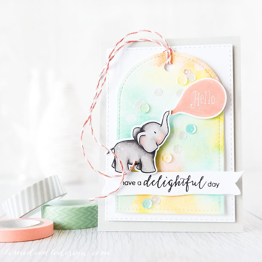 watercolor blog hop - Debby Hughes - Lime Doodle Design http://limedoodledesign.com/2015/06/watercolor-blog-hop/ #watercolor #watercolour #elephant #bokeh #card #tag
