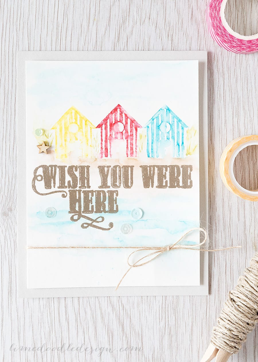 messy watercolouring with clean color markers - Debby Hughes - Lime Doodle Design http://limedoodledesign.com/2015/06/messy-watercol…-color-markers/ #zig #watercolour #watercolor #card #beach