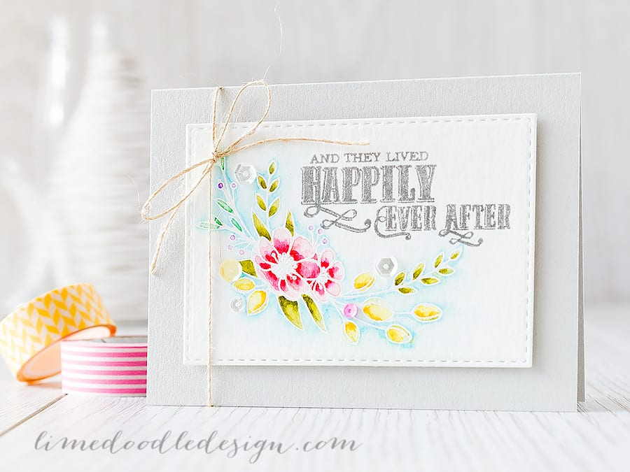 White heat embossing flowers really does let them shine! I'm using the new Fairytale Ending set from Clearly Besotted Stamps. Find out more by clicking on the following link: http://limedoodledesign.com/2015/07/white-heat-embossing-flowers/ ~ Debby Hughes ~ Lime Doodle Design