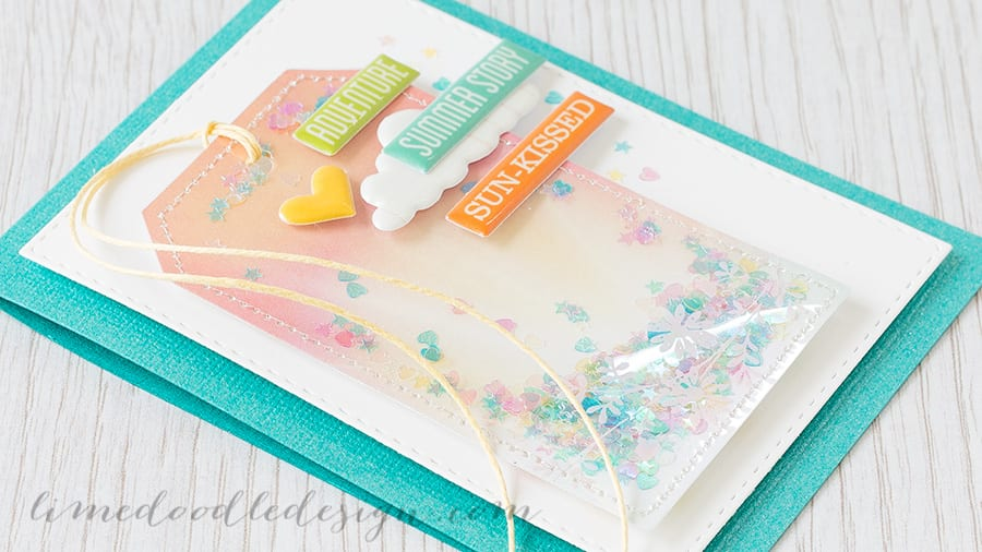 Shakers of any style are so much fun! Here I used the jam-packed Simon Says Stamp August Card Kit to create a shaker tag. Find out more by clicking on the following link: http://limedoodledesign.com/2015/07/shaker-tag-august-card-kit/