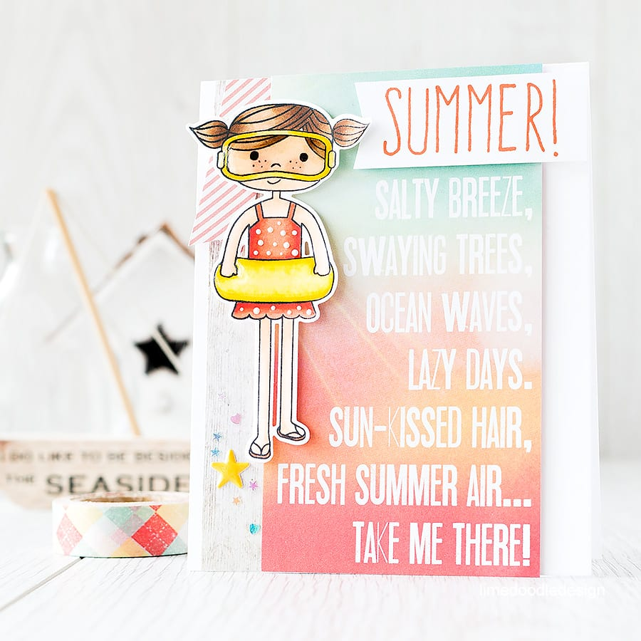 The Simple Stories papers in the August Card Kit are those of the deep rich sunkist colours of a hot summer sunset, salty and sandy from a good day at the beach. Find out more by clicking on the following link: http://limedoodledesign.com/2015/07/summer/