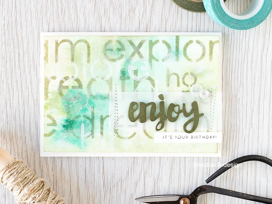 Stencilled background over watercolored piece. Find out more by clicking here: http://limedoodledesign.com/2015/08/stencilled-background/