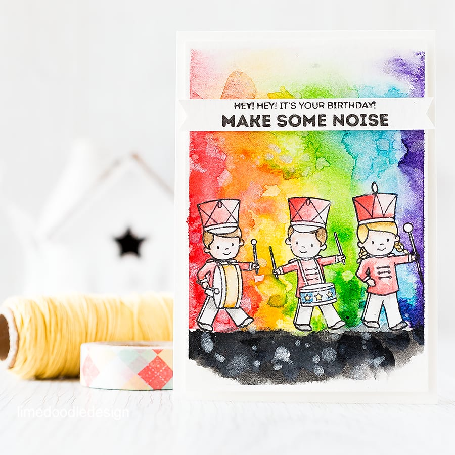 I love the 'make some noise' sentiment of this card so visualised a watercolor rainbow of noisy fun coming from the band members! Find out more by clicking on the following link: http://limedoodledesign.com/2015/09/watercolor-rainbow/