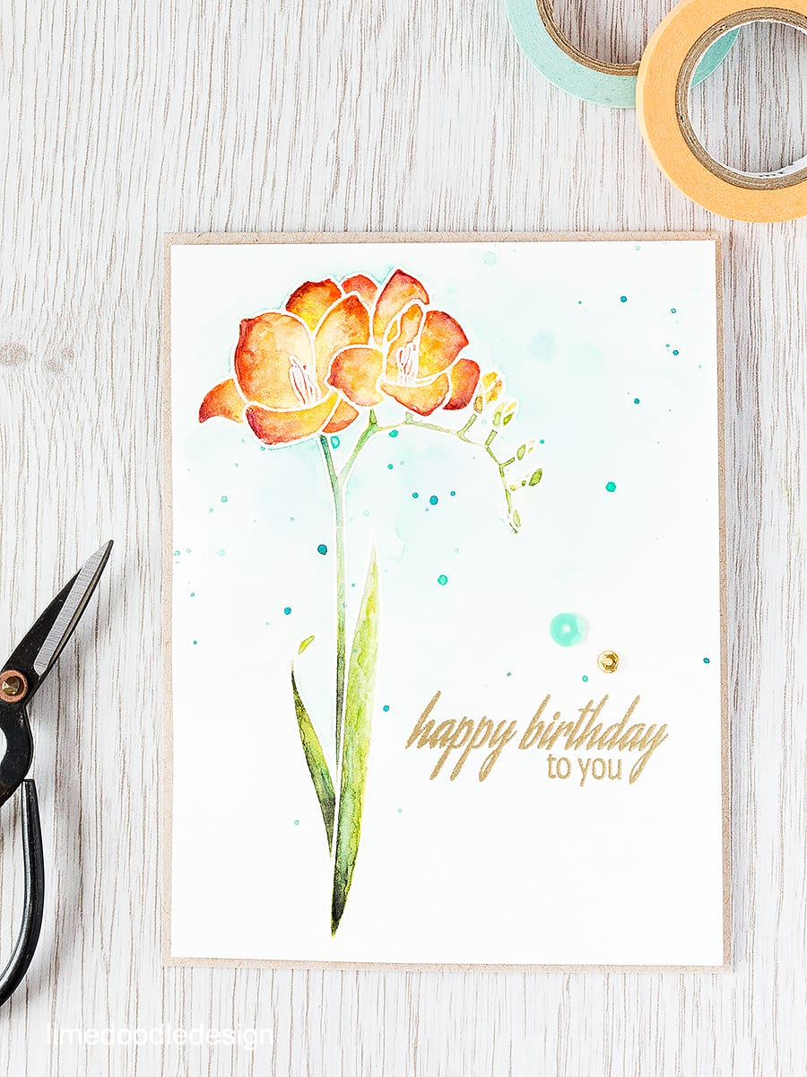 Using layers of watercolor to bring this gorgeous Altenew Fresh Freesia to life. Find out more by clicking the following link: http://limedoodledesign.com/2015/09/watercolor-layers/