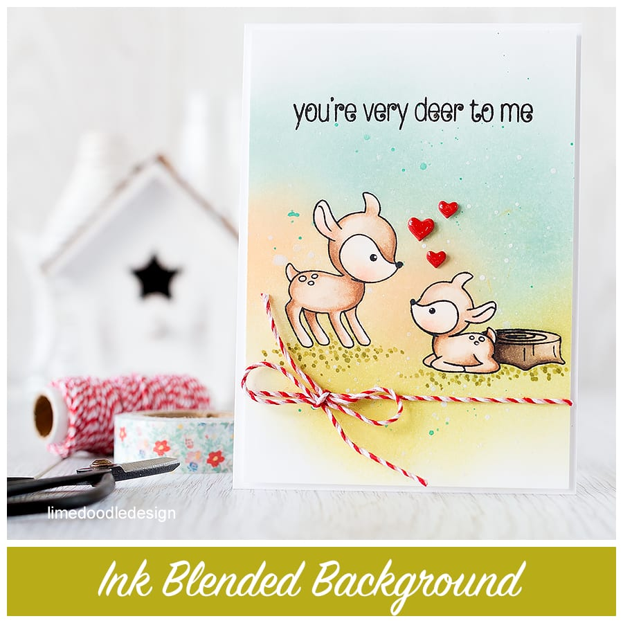 An ink blended background is the perfect backdrop to these cute deer! Find out more by clicking the following link: http://limedoodledesign.com/2015/09/ink-blended-background/