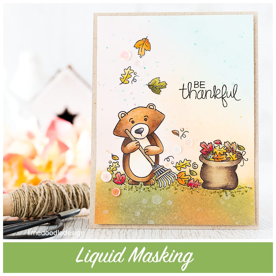 Liquid masking makes easy work of all the leaves when working on this autumn scene. FInd out more by following this link: http://limedoodledesign.com/2015/09/liquid-masking/