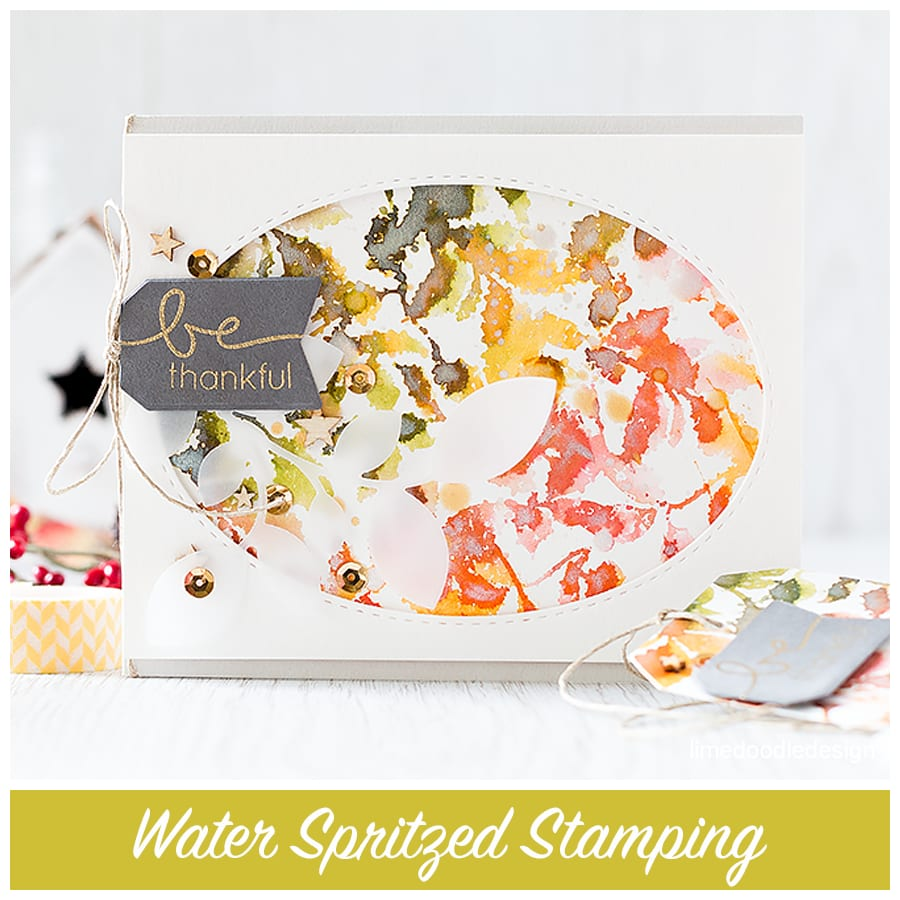 Water spritzed stamping is an old technique but one which creates gorgeous results! Find out more by clicking the following link: http://limedoodledesign.com/2015/09/water-spritzed-stamping/