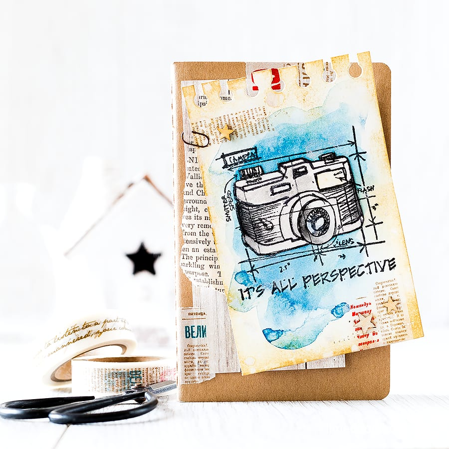 Distressed notepage using the STAMPtember Simon Says Stamp and Tim Holtz collaborative set. Find out more by clicking the following link: http://limedoodledesign.com/2015/09/distressed-notepage-giveaway/
