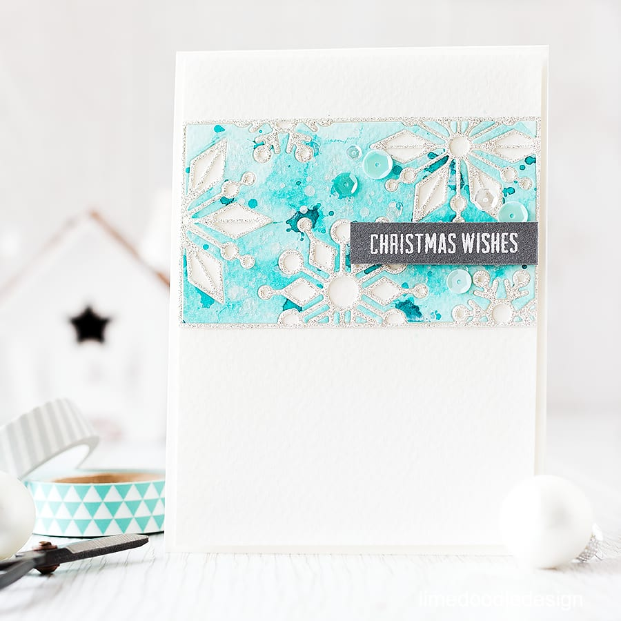 Inlaid die cutting of these gorgeous snowflakes with watercolored background. For more details please click on the following link: http://limedoodledesign.com/2015/10/inlaid-die-cutting/