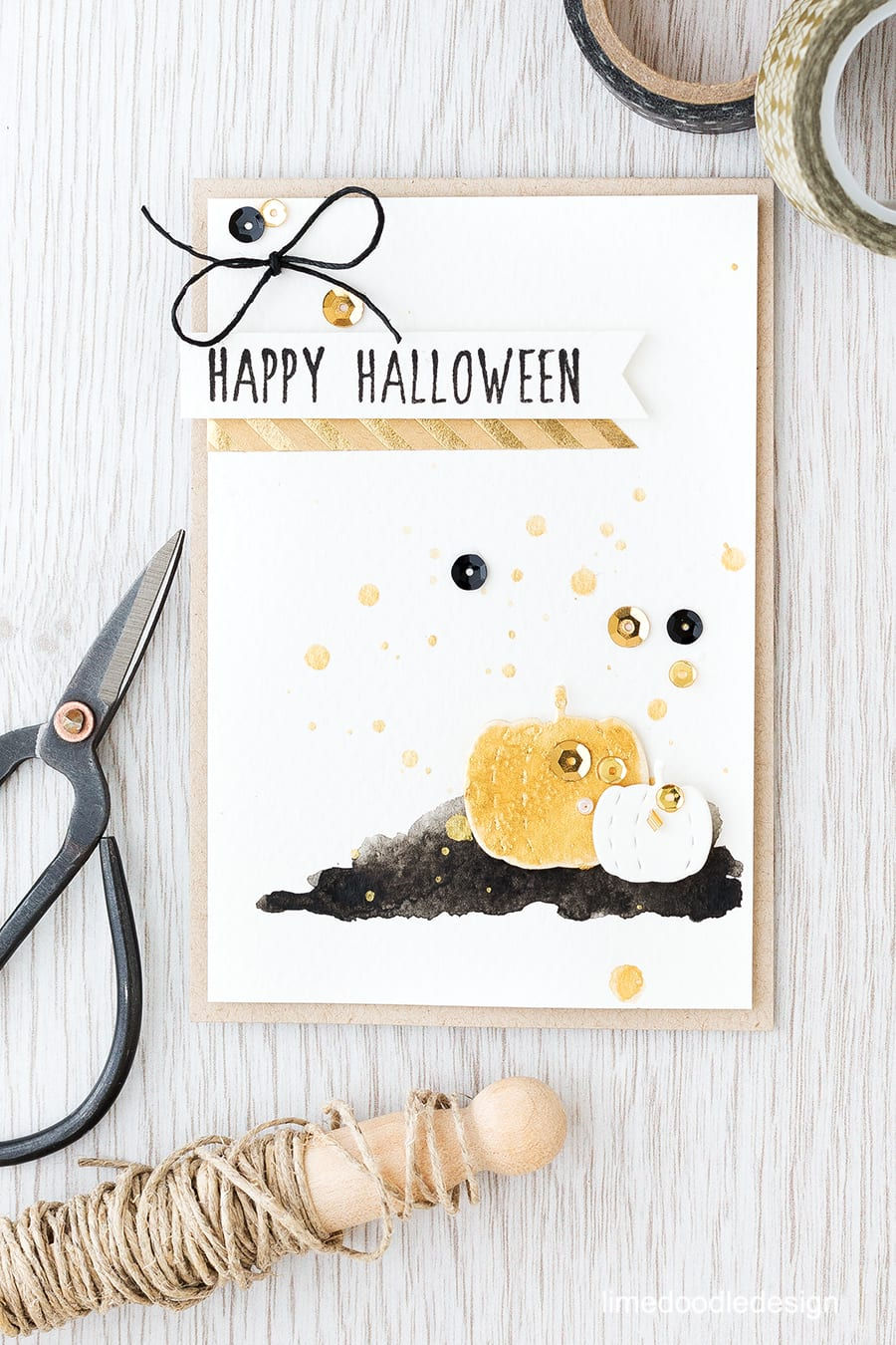 The lover of soft neutrals in me is drawn towards Halloween decor which concentrates on neutrals, black and gold. I used these Stitched Pumpkin dies to create a gold gourd. Find out more by clicking the following link: http://limedoodledesign.com/2015/10/gold-gourd/