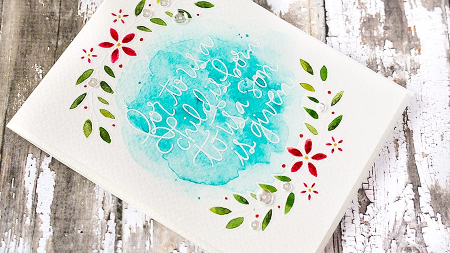 Softly watercolored, white heat embossed sprigs with a gorgeous sentiment. Find out more by clicking the following link: http://limedoodledesign.com/2015/10/new-release-blog-hop/