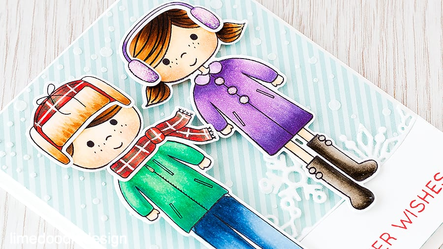 Snowy backdrop to the little girl and boy from Ready Set Snow. I really enjoyed coloring the tartan hat and scarf. Find out more by clicking the following link: http://limedoodledesign.com/2015/11/paper-crafters…kdrop-giveaway/