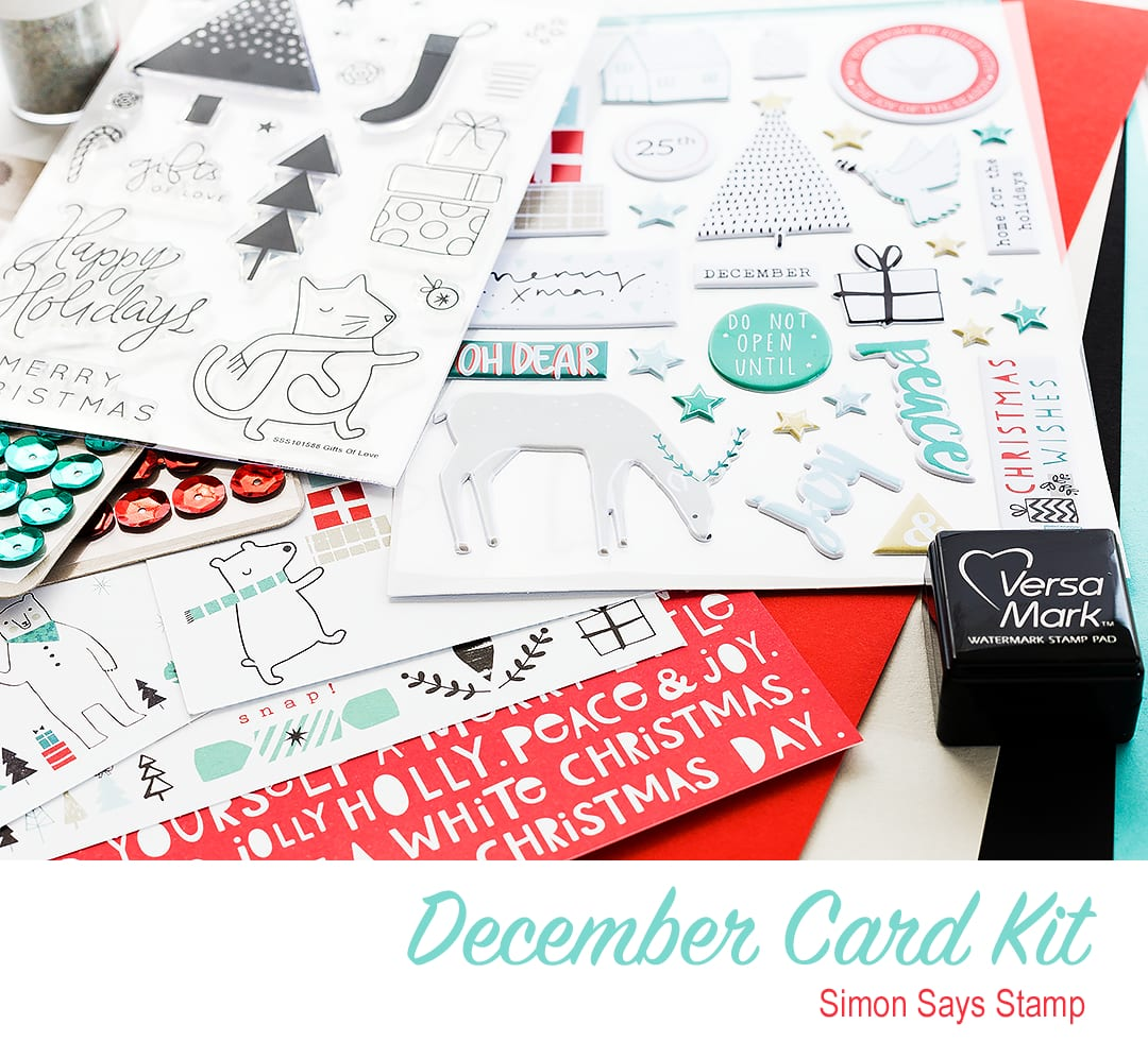 December Card Kit from Simon Says Stamp. For a video walk through and to find out more please visit: http://limedoodledesign.com/2015/11/video-december…t-walk-through/