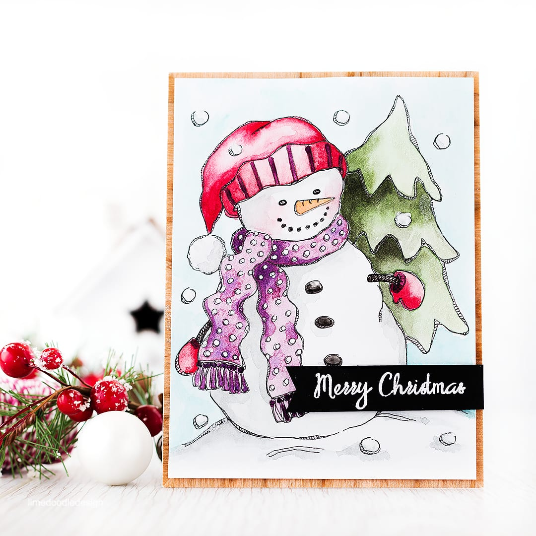 Watercolor Snowman + giveaway
