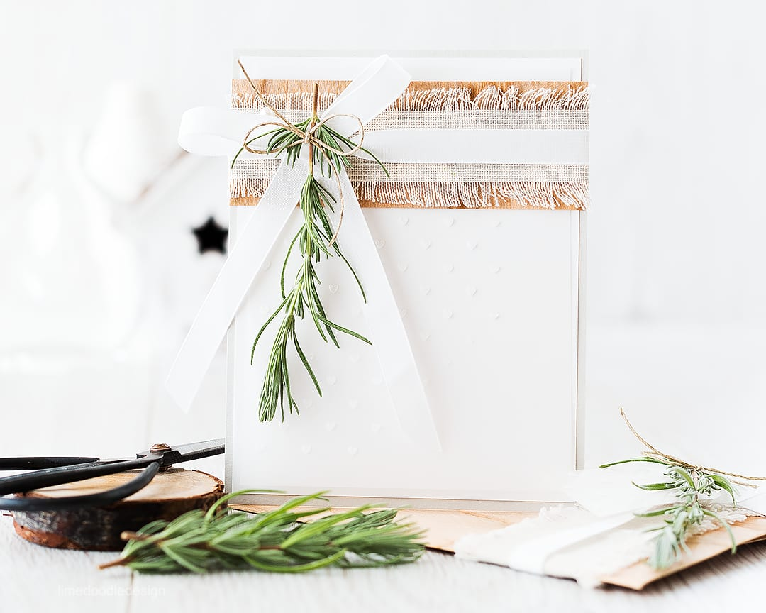Combining soft colors with natural materials in this card and envelope duo. Find out more by clicking on the following link: http://limedoodledesign.com/2015/11/natural-materials-giveaway/