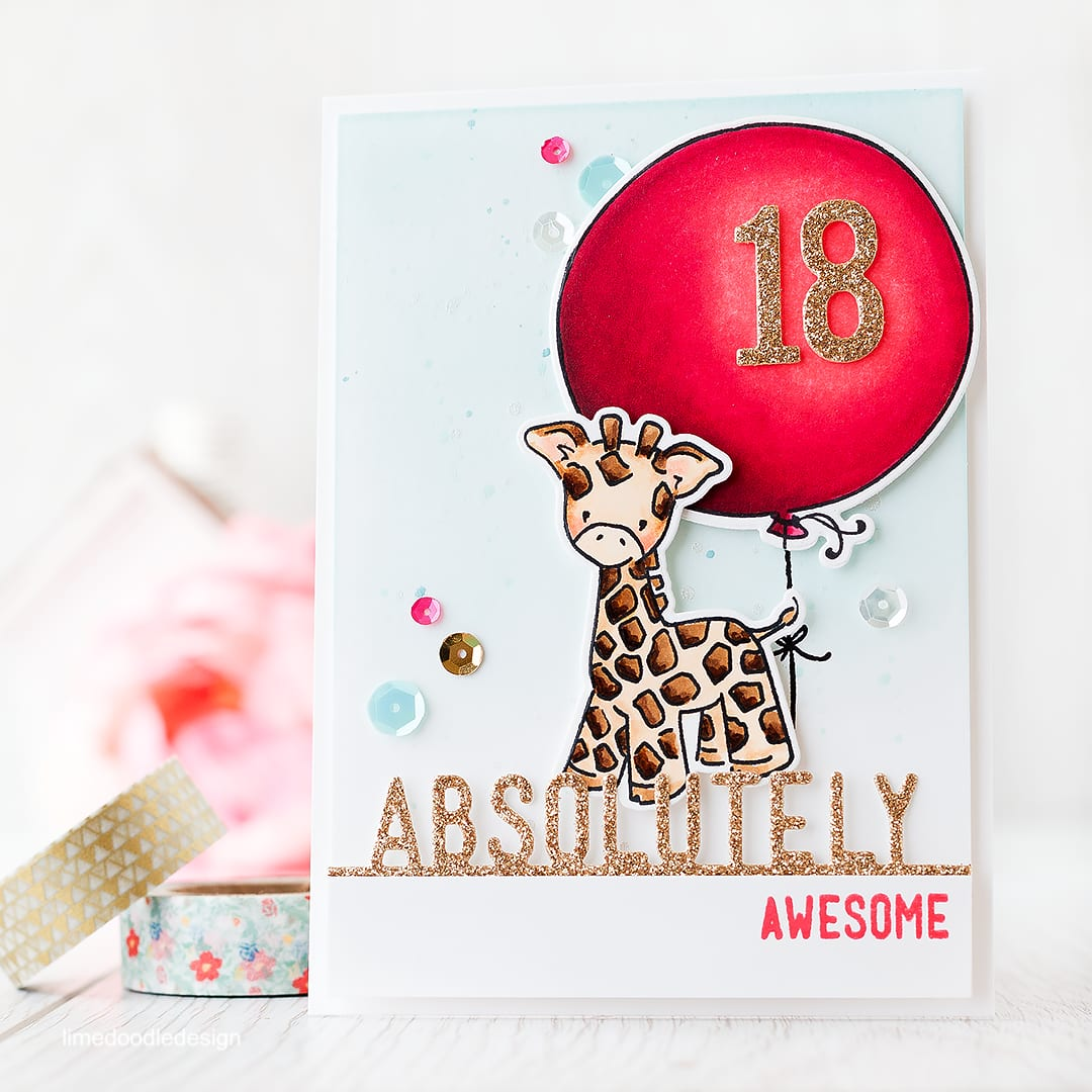 Hot pink, a giraffe and a splash of awesome are the order of the day for this 18th birthday card! Find out more by clicking on the following link: http://limedoodledesign.com/2015/12/18-and-awesome/